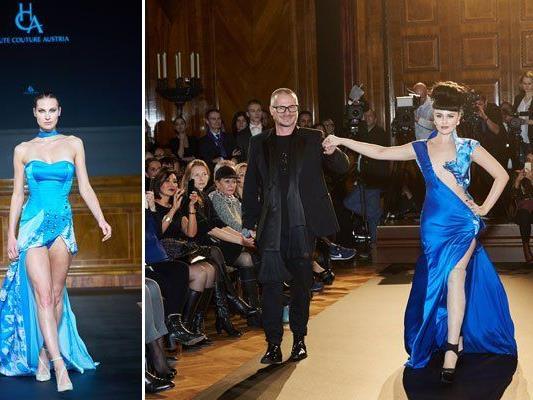 Links: Corsage-Modell von Julia Lara Zechmeister. Rechts: Ausnahmemodel Viktoria Modesta am Catwalk.