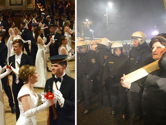 Wenn in der Hofburg die Burschenschafter tanzen, finden draußen Demos gegen den Akademikerball statt