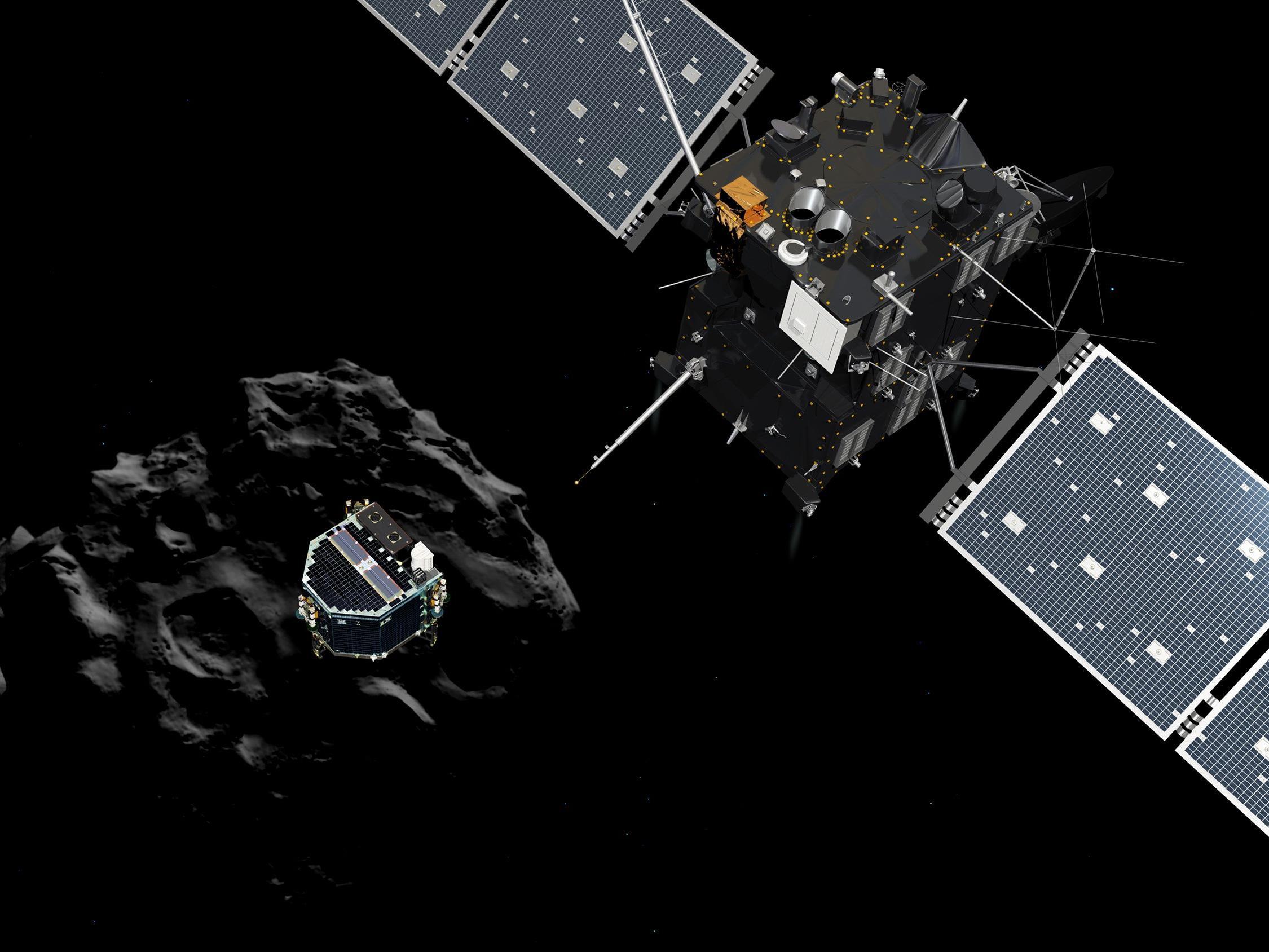 """Kometen-Jägerin """"Rosetta"""" hatte sich 2004 auf den Weg gemacht und das Mini-Labor """"Philae"""" an Bord zu """"Tschuri"""" gebracht."""