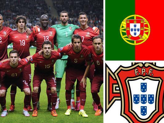 Kader und Teamportrait der portugiesischen Nationalmannschaft.