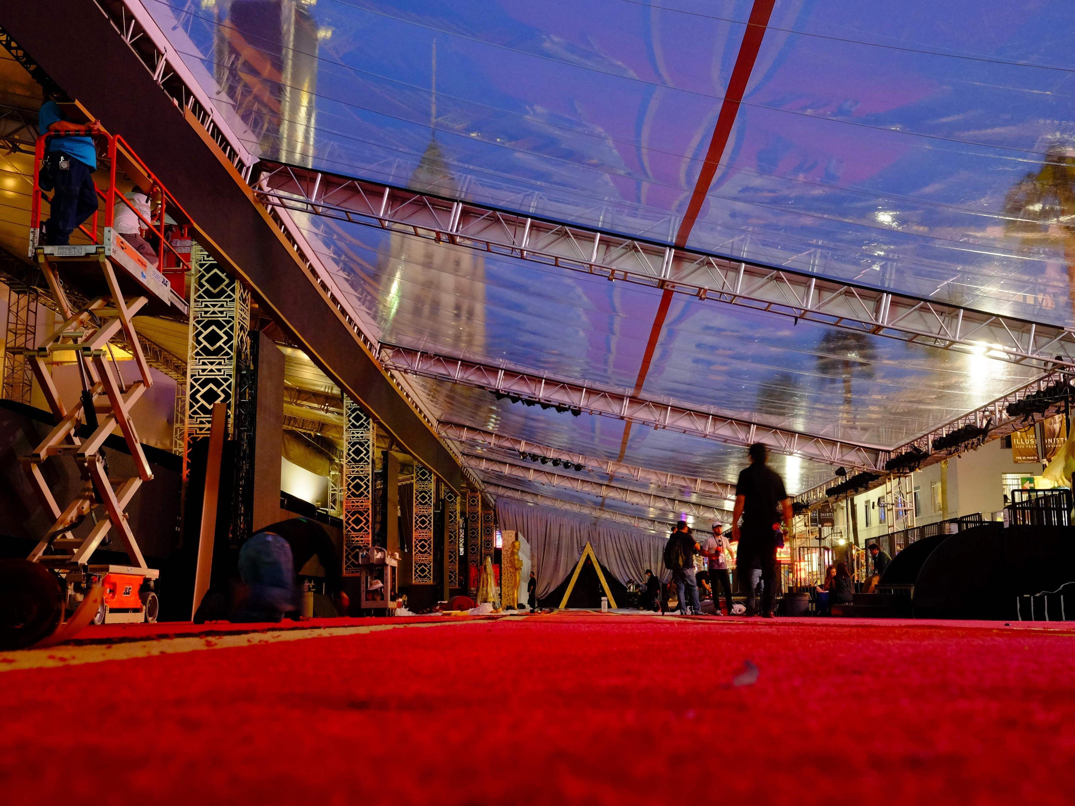 Der Rote Teppich ist bereit für die Academy Awards 2016.
