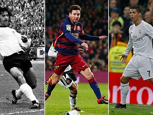 Müller, Messi und Ronaldo - Drei der besten Fußballer aller Zeiten.