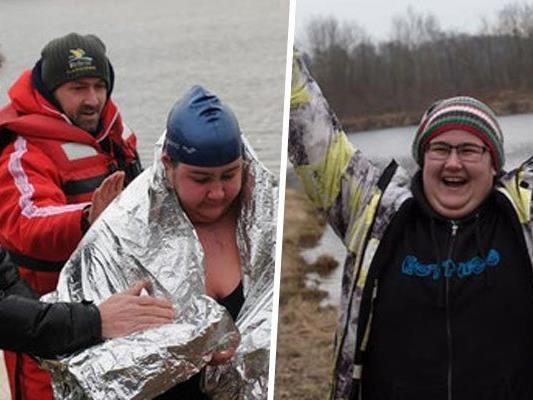 Yasmine Pliessnig schwamm erfolgreich die Ice Mile.