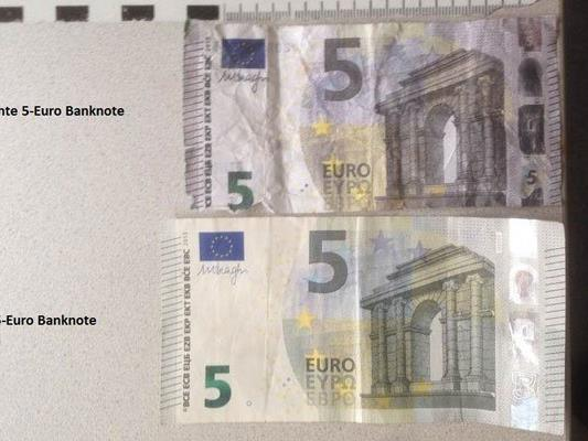 Die, in Wien-Favoriten gefundene, gefälschte 5-Euro-Banknote.
