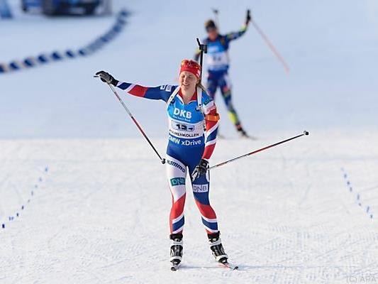 Siegreiche Norwegerin - Schlussläuferin Marte Olsbu