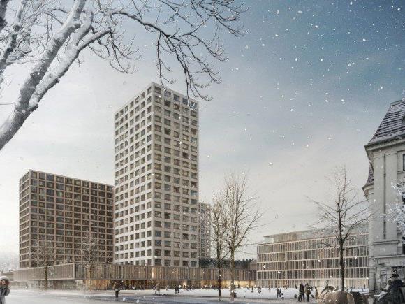 Das geplante Hochhaus am Areal des Wiener Eislaufvereins.