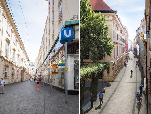 Die Herrengasse in der Wiener Innenstadt wird auf ihrer gesamten Länge zur Begegnungszone umgestaltet - hier ein Rendering