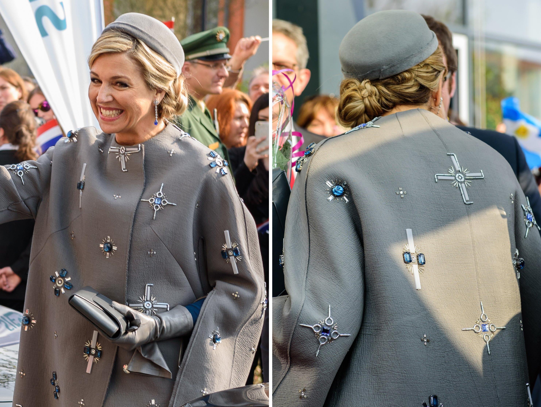 Für Wirbel sorgte Máximas grauer Mantel mit Hakenkreuz ähnlichen Applikationen.