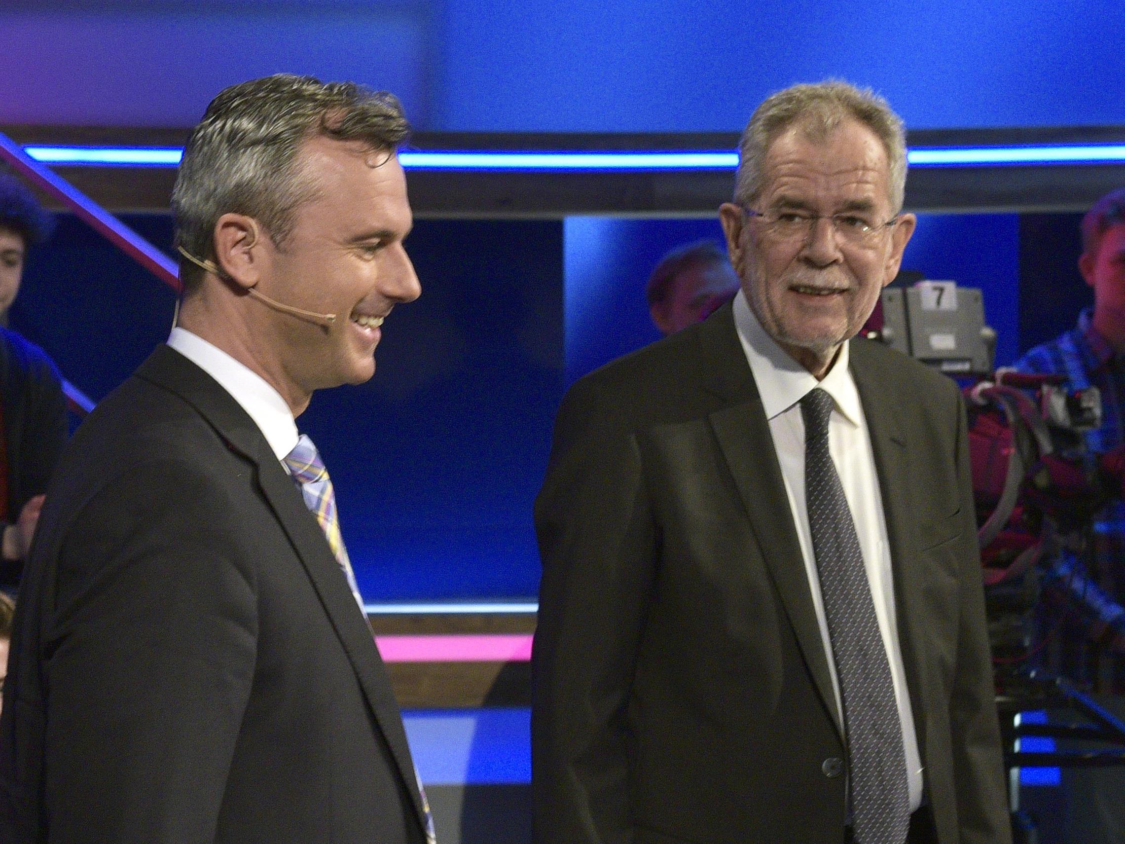 Die Präsidentschaftskandidaten Norbert Hofer und Alexander Van der Bellen.