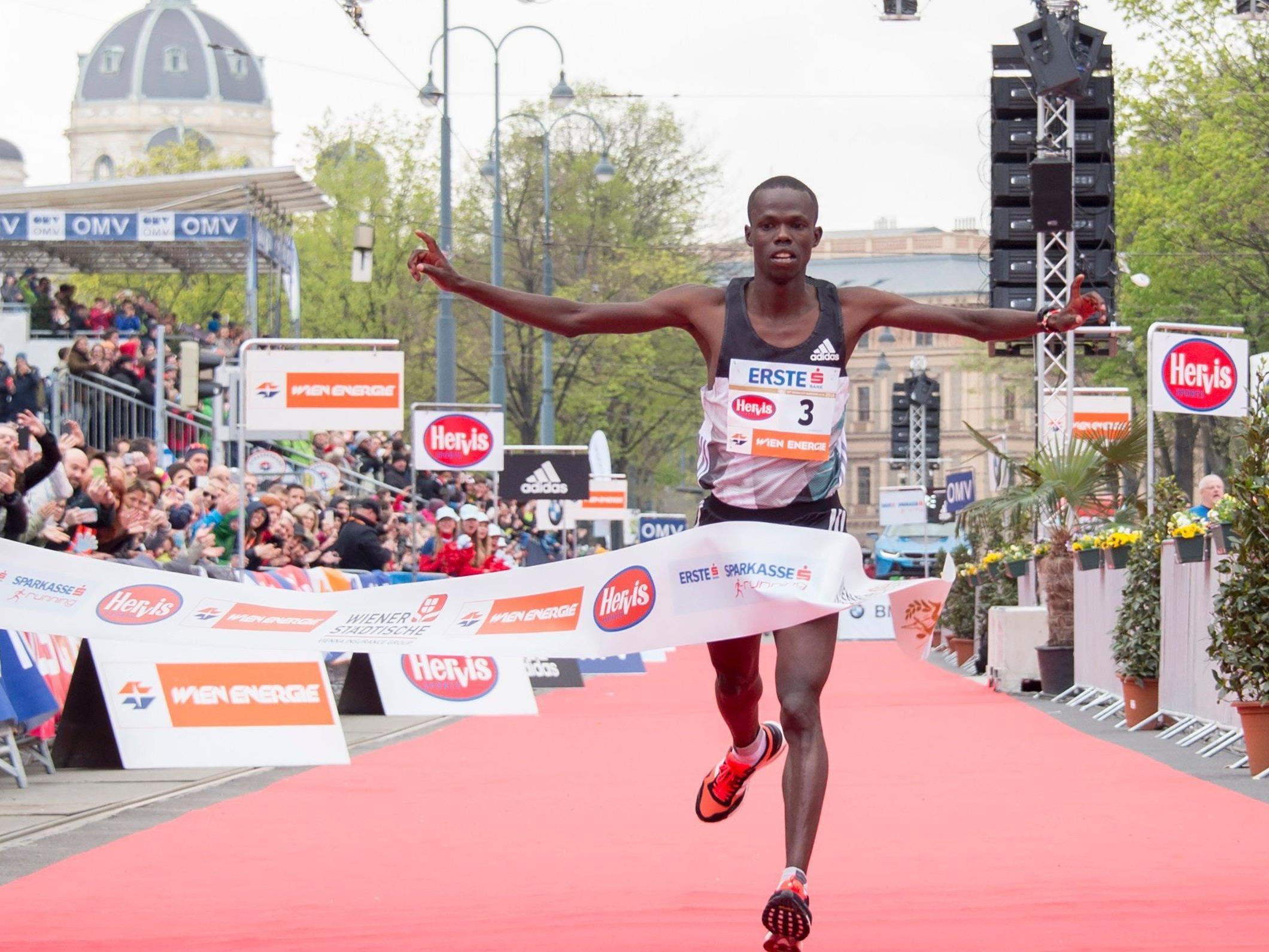 Robert Chemosin gewinnt den Vienna CIty Marathon in inoffiziellen 2:09:48 Stunden.