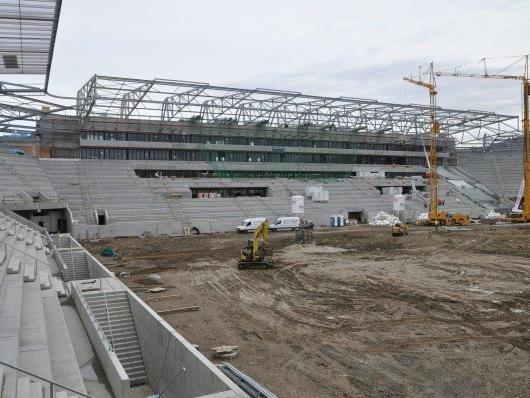 Die Arbeiten im Allianz Stadion laufen auf Hochtouren.