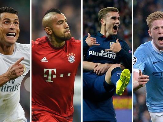 Real Madrid, die Bayern, Atlético Madrid und Manchester City stehen im Halbfinale.