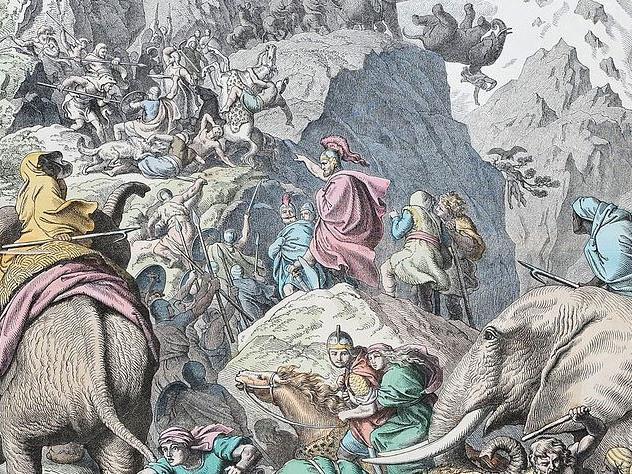 Hannibals Übergang über die Alpen (kolorierter Holzschnitt von Heinrich Leutemann, 1866)