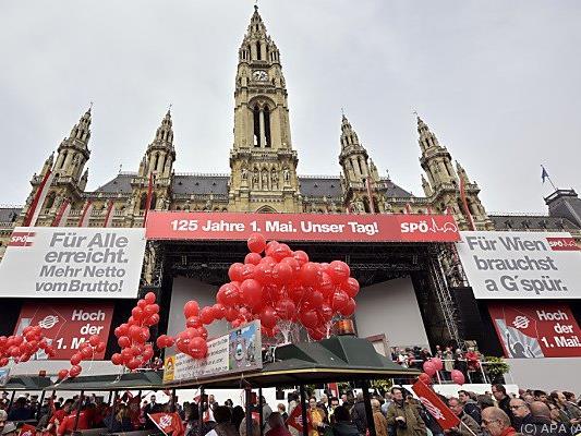 Die Schlusskundgebung nach dem SPÖ-Maiaufmarsch findet auch heuer wieder am Rathausplatz statt