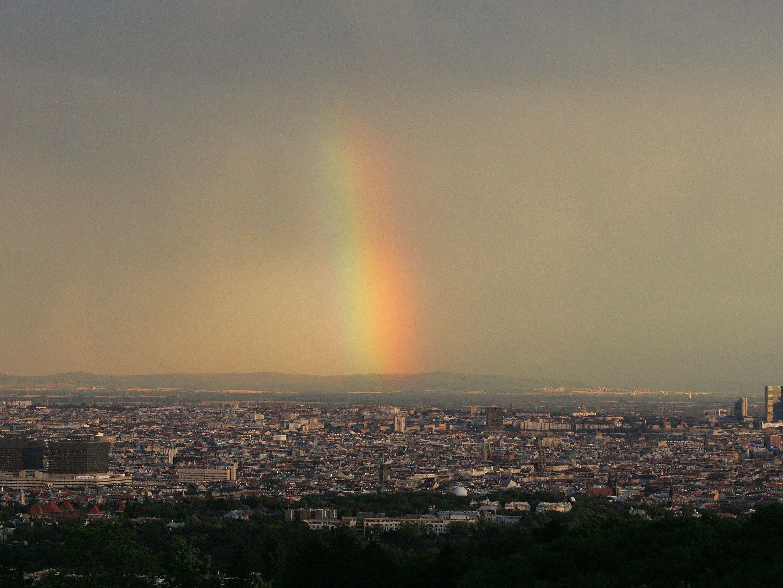 Ein Regenbogen über Wien.