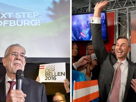 Van der Bellen und Hofer feierten nach der BP-Wahl im Kreise ihrer Anhänger