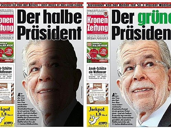 """Mit zwei verschiedenen Titelseiten berichtete die """"Kronen Zeitung"""" am Dienstag"""
