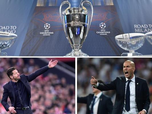 Diego Simeone (l.) und Zinédine Zidane stehen sich am Samstag in Mailand gegenüber.