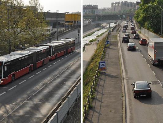 Montagfrüh auf Höhe der U4-Station Hütteldorf.
