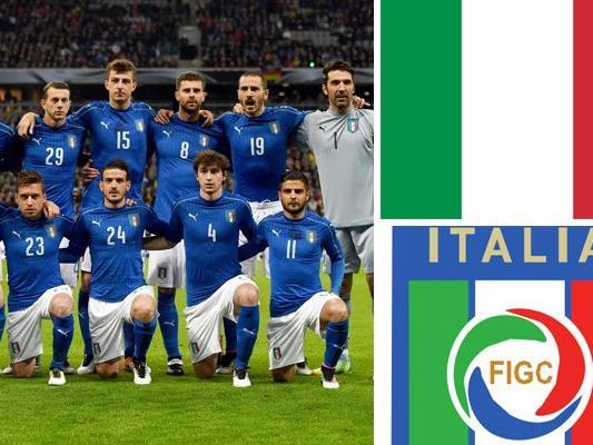 Kader und Teamportrait der italienischen Nationalmannschaft.