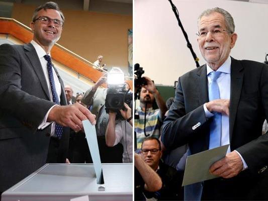 Die beiden Kandidaten bei der Stimmabgabe.