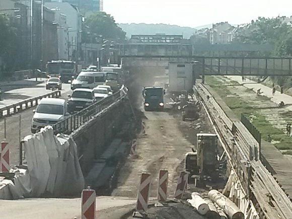 Die Baustelle entlang der U4