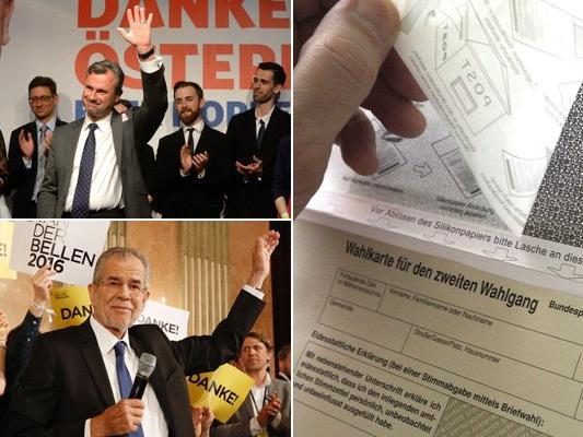 LIVE von der Entscheidung zur Bundespräsidentenwahl: Wahlkarten werden ausgezählt.