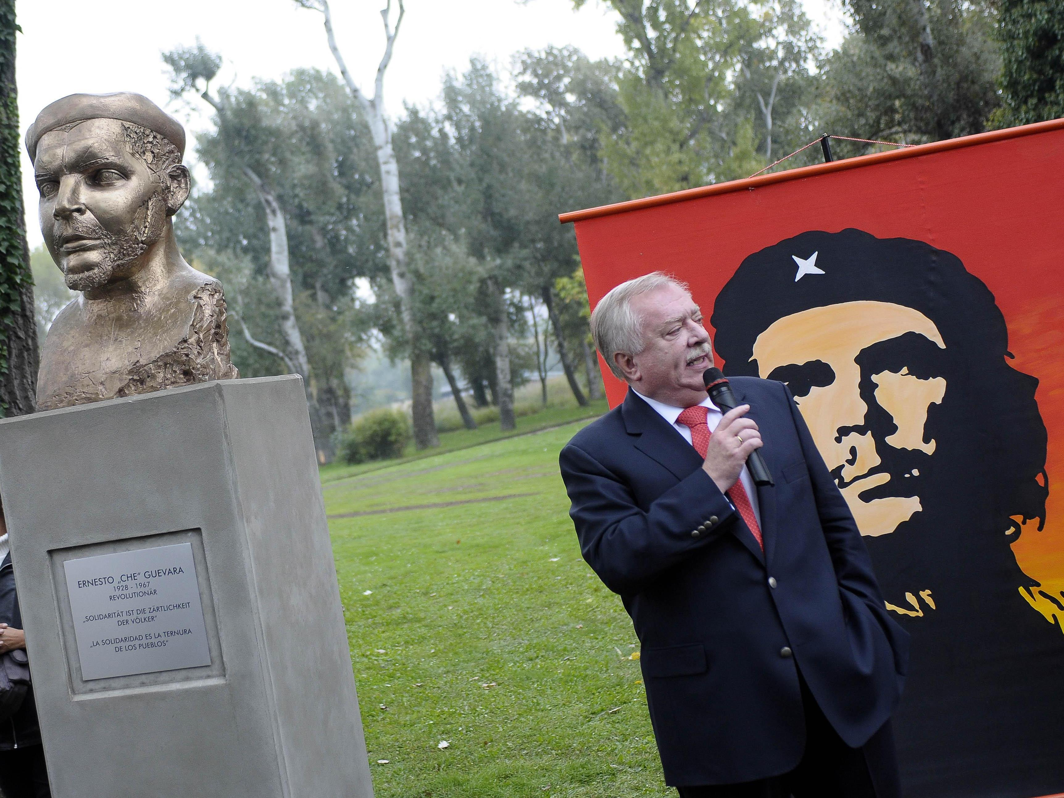 """Die Büste des Ernesto """"Ché"""" Guevara im Wiener Donaupark."""