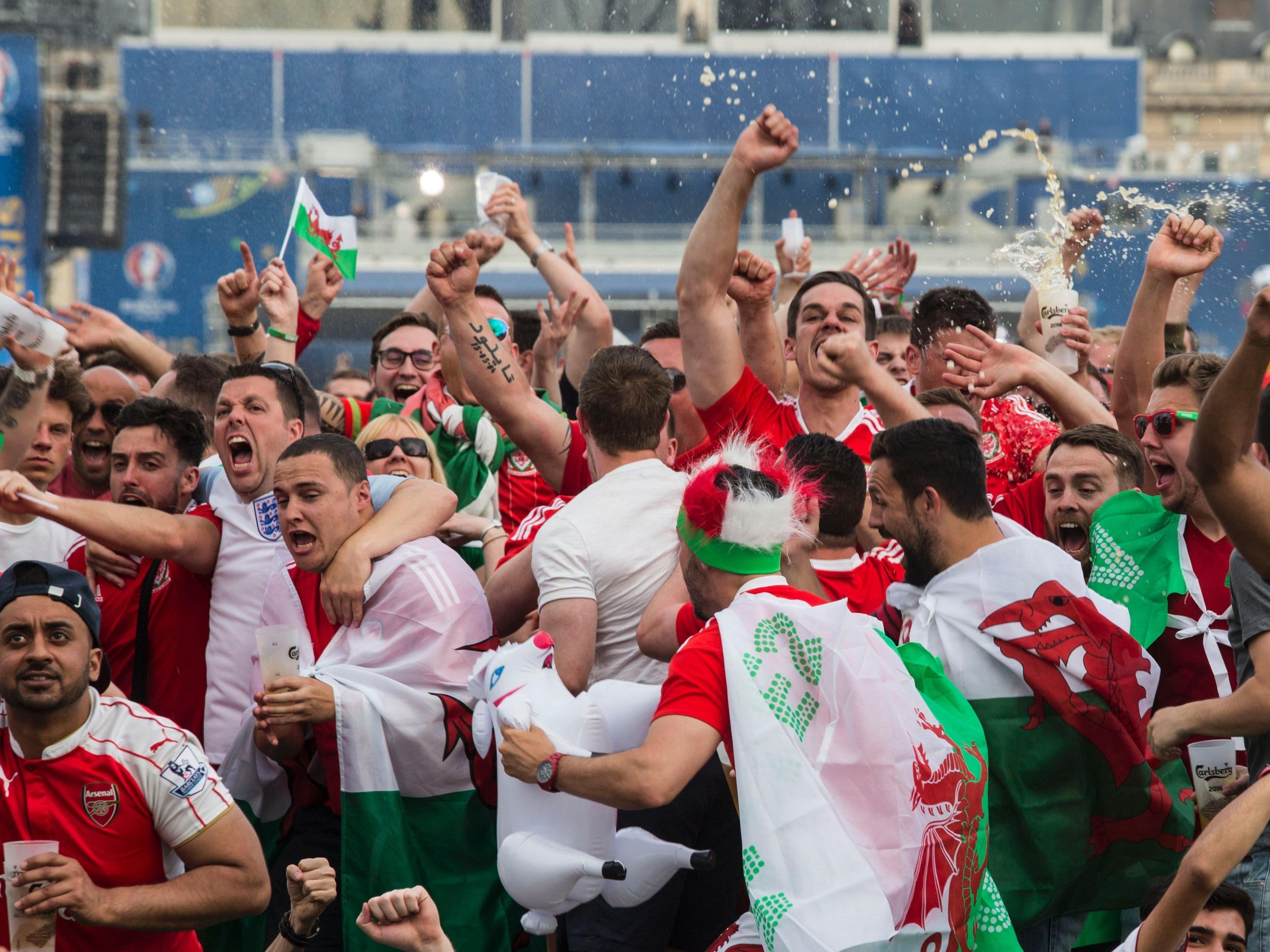 Die walisischen Fans in Aktion.