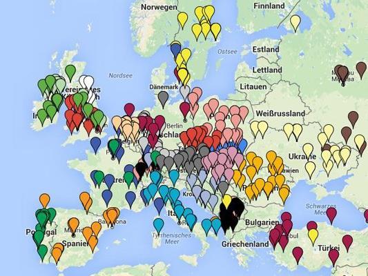 Die Geburtsorte aller 552 EURO-Teilnehmer auf einer Karte.