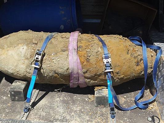Von Entminungsdienst entschärft und abtransportiert wurde diese Bombe