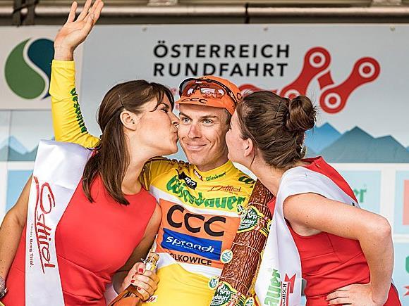 Jan Hirt (CZE, CCC Sprandi Polkowice, gelbes Trikot) ist Gesamtsieger der 68. Österreich-Radrundfahrt