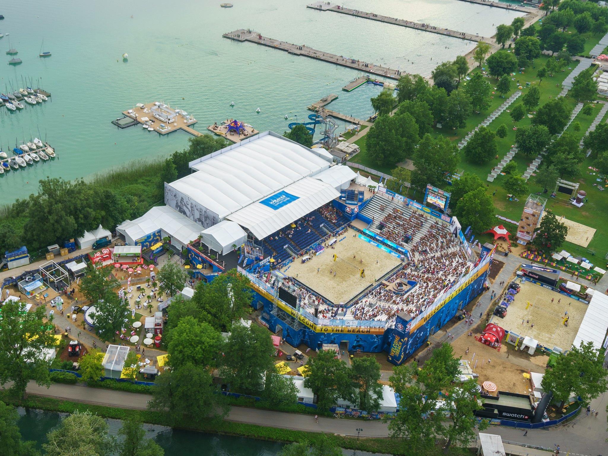 Die Beachvolleyball-Arena in Klagenfurt.