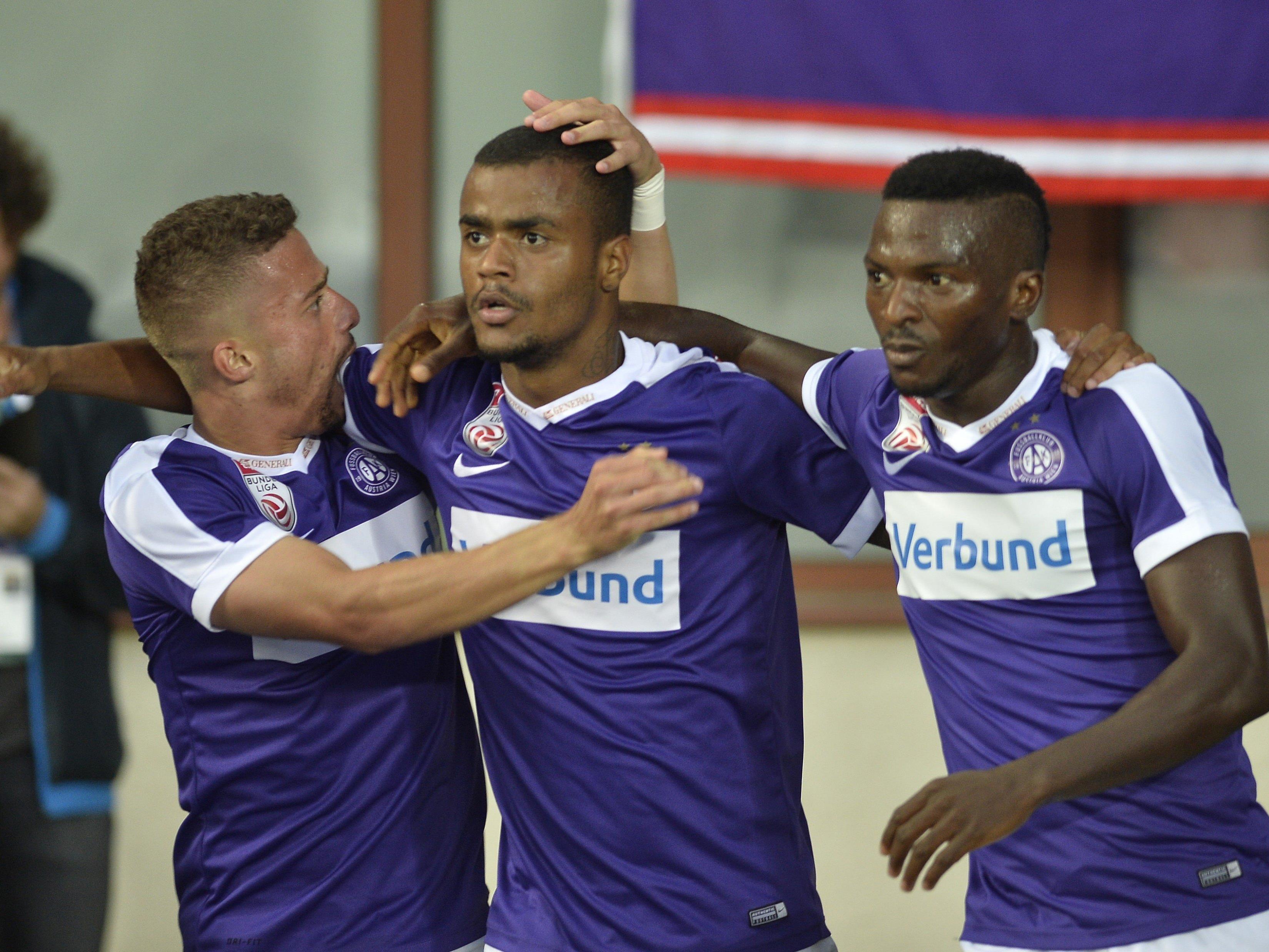 Felipe Pires (mitte) sicherte der Wiener Austria den Sieg über Rosenborg in der Europa League.