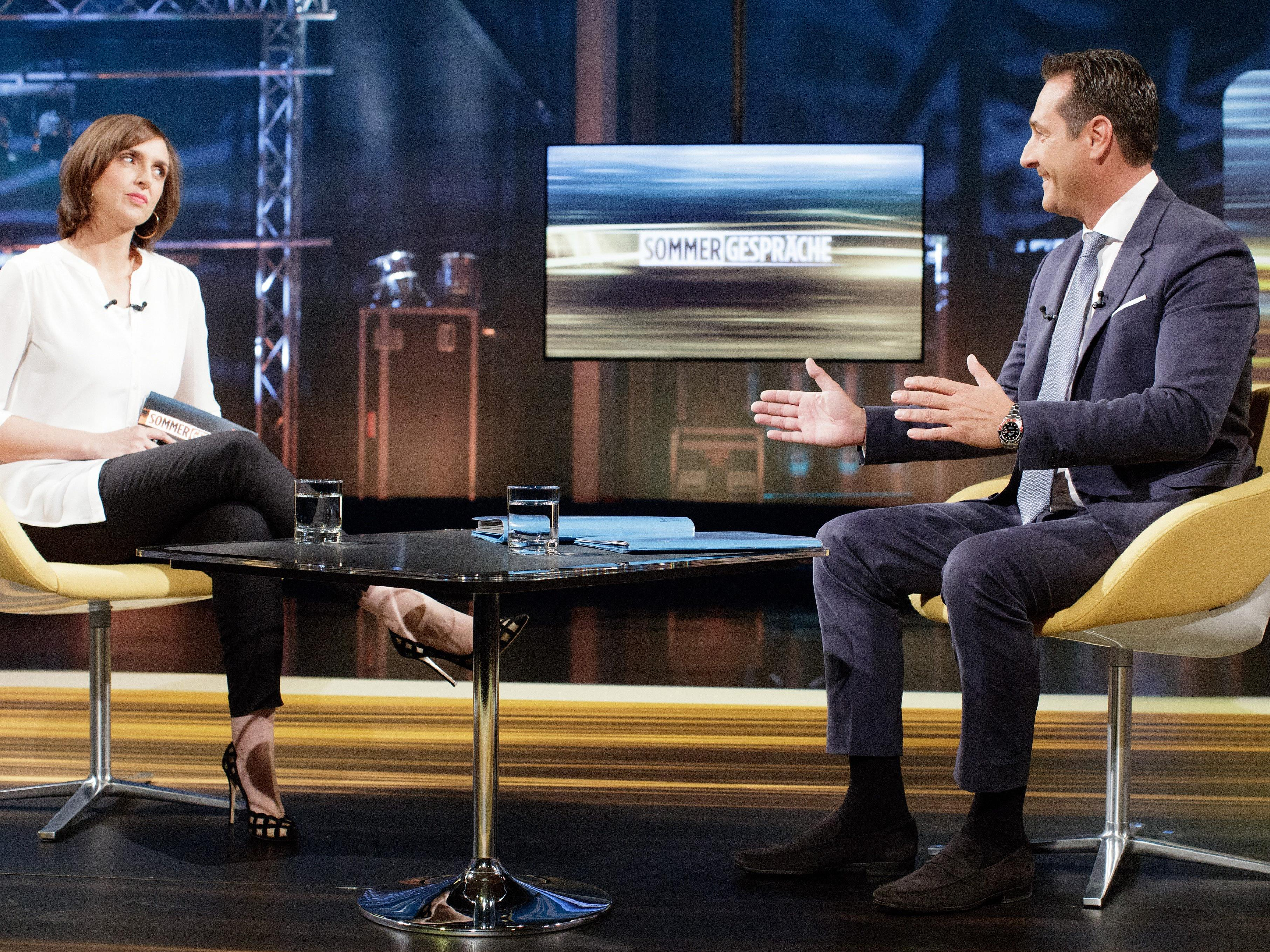 FPÖ-Chef Strache bem ORF-Sommergespräch