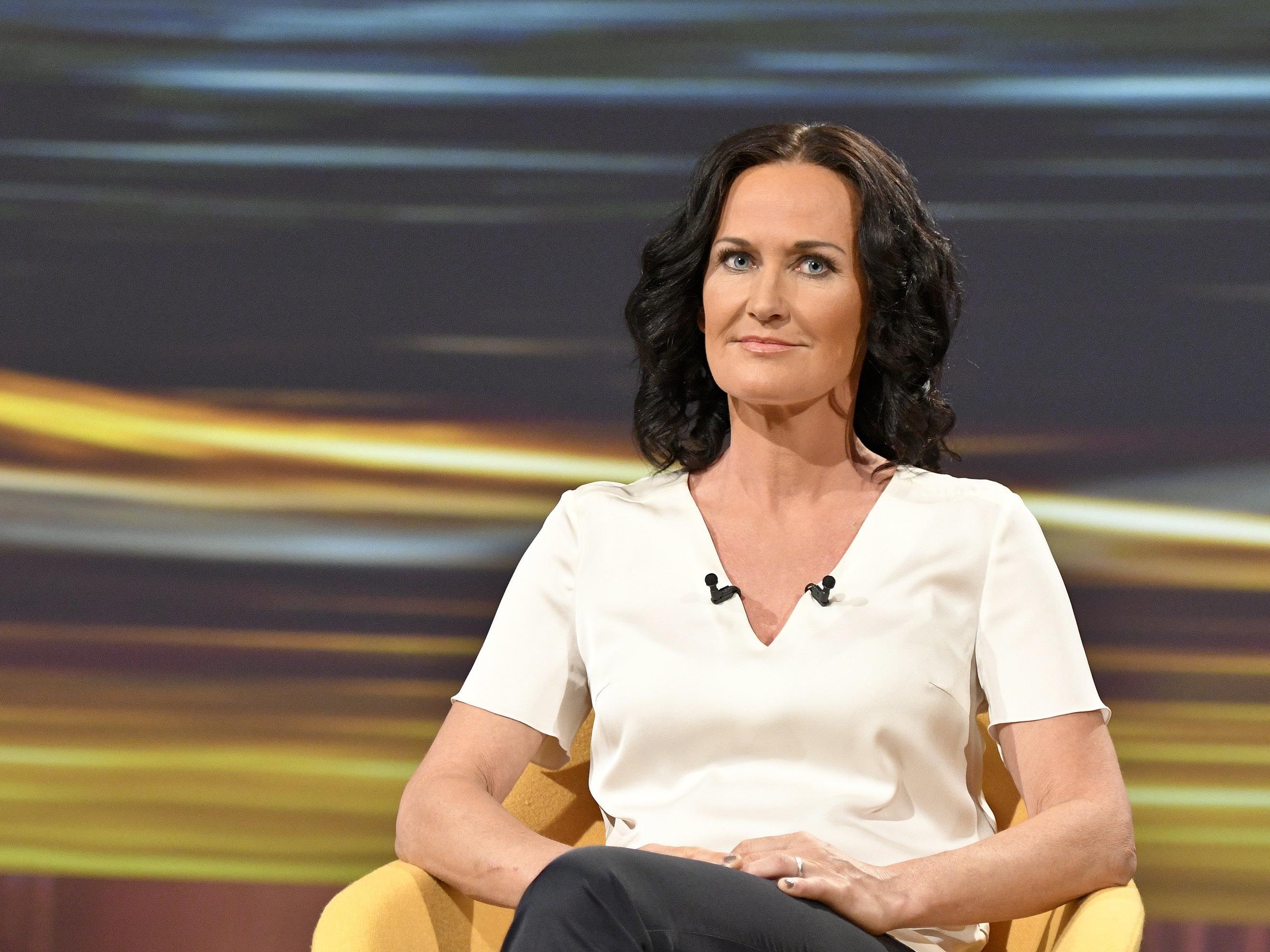 """Grünen-Chefin Eva Glawischnig beim """"Sommergespräch""""."""