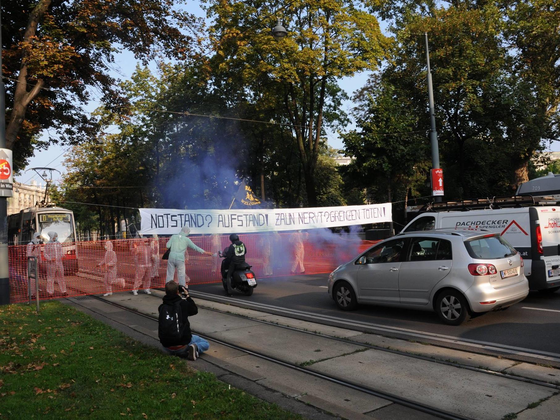 Aktivisten blockierten den Wiener Ring