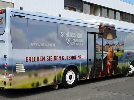 Die gebrandeten Busse machen Lust auf Schloss Hof und Kaiser Franz Joseph.