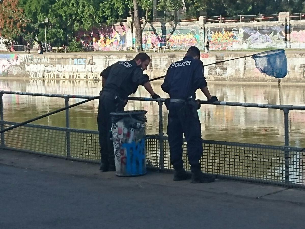 Die Polizei beim Bergen der Drogen aus dem Donaukanal.