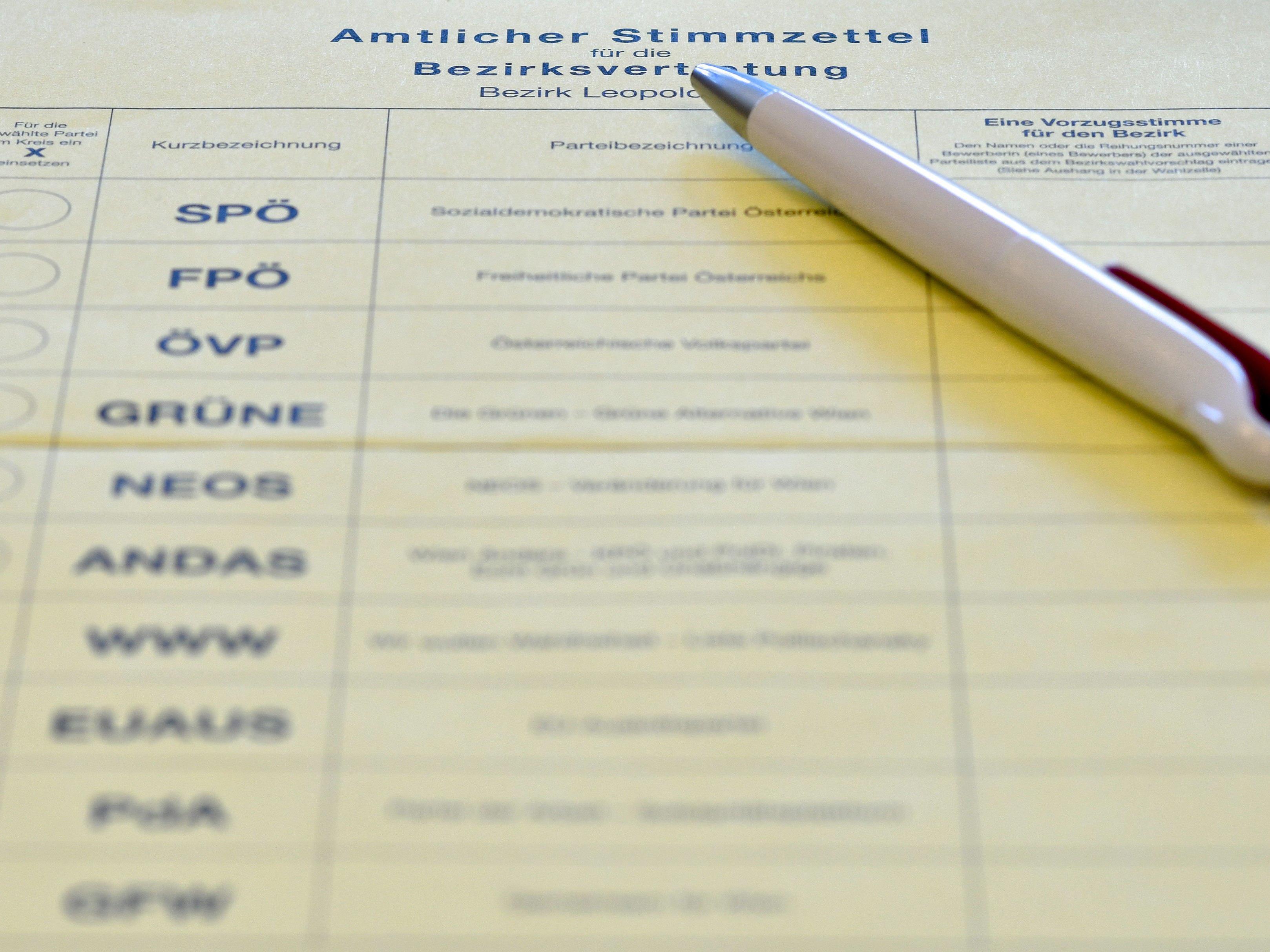Ein amtlicher Stimmzettel für die Bezirksvertretungswahlen in Wien-Leopoldstadt