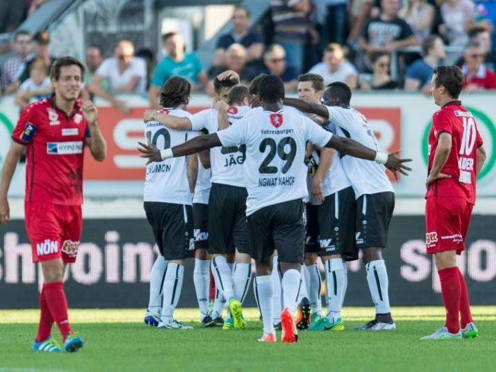 Das erste Saisonduell gegen St. Pölten gewann Altach Mitte August zu Hause mit 3:1
