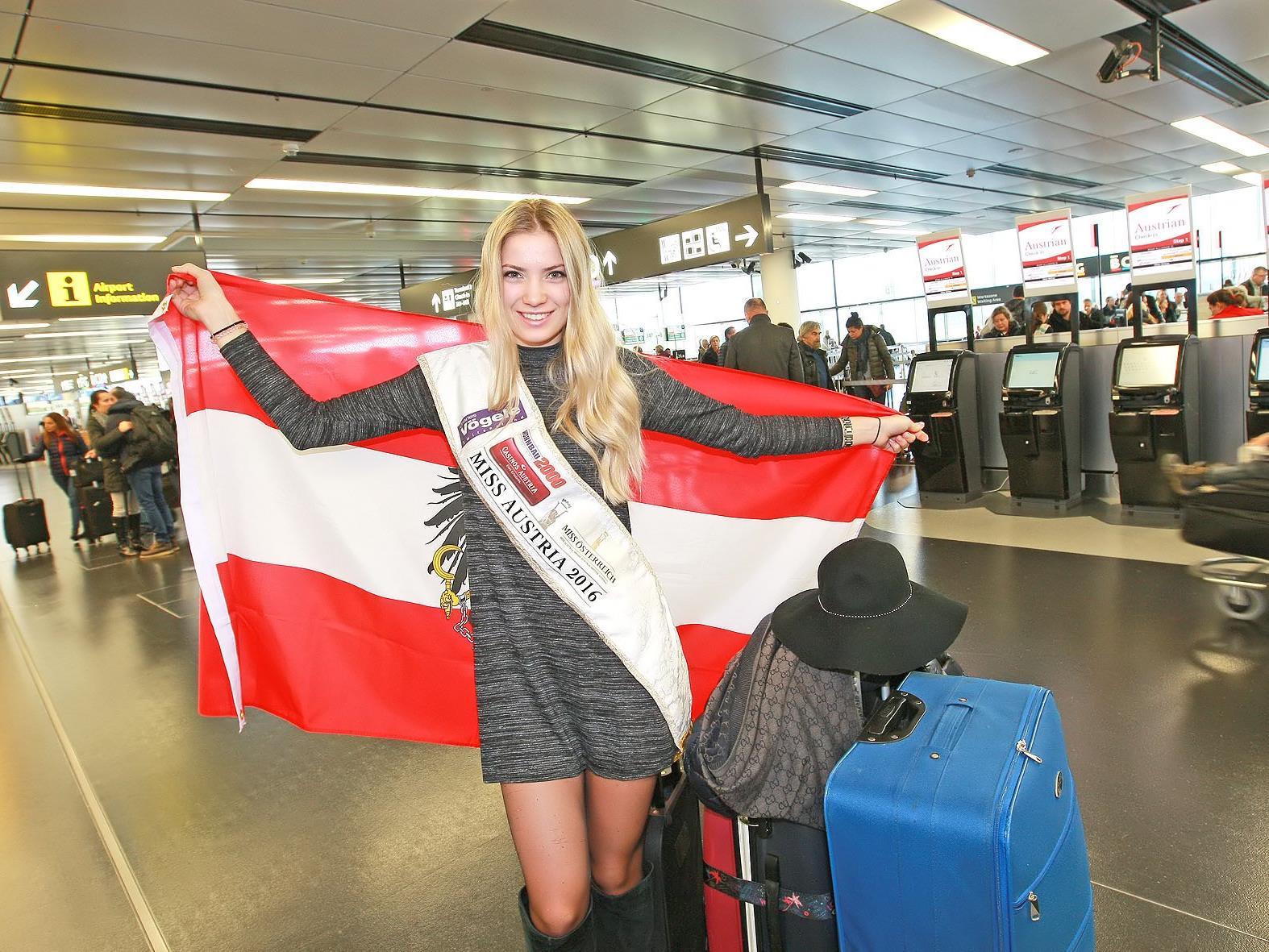 Miss Austria Dragana Stankovic vor dem Abflug in die USA.