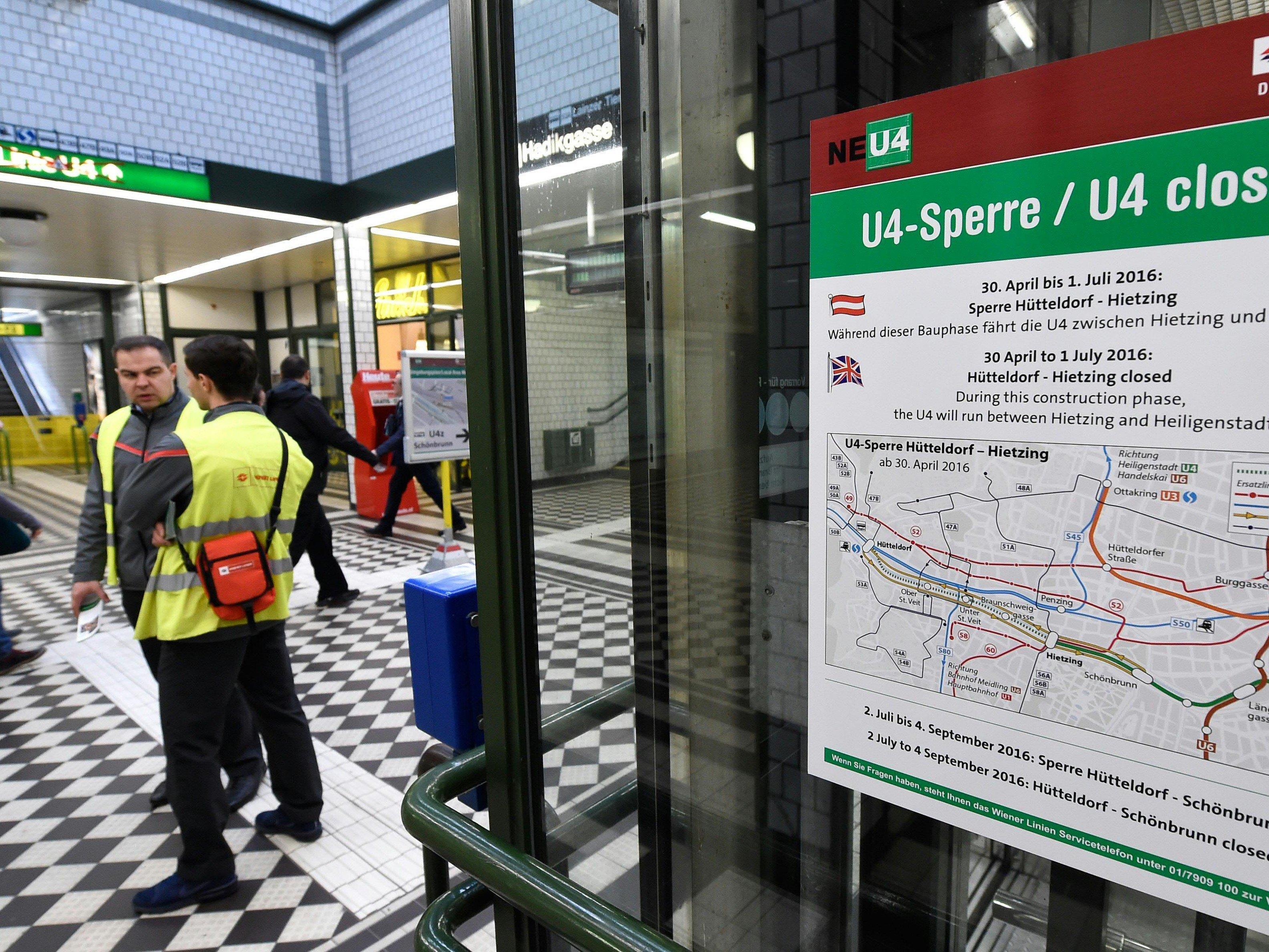 Die U4-Sanierung wird noch länger nicht abgeschlossen sein.