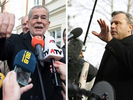 Van der Bellen und Hofer bei der Stimmabgabe der Bundespräsidentenwahl.