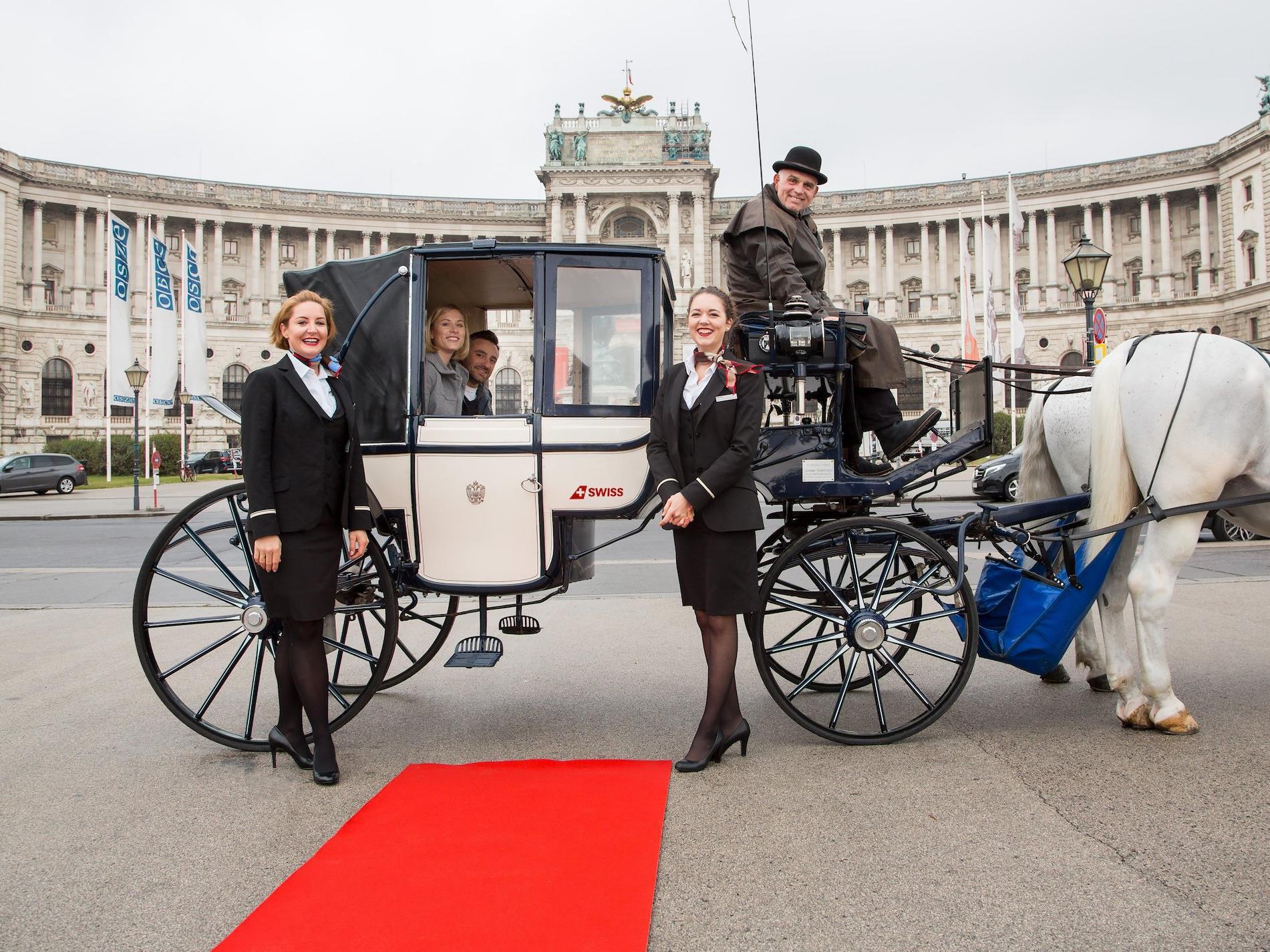 Bei der SWISSED-Aktion mit Fiakerfahrt in Wien
