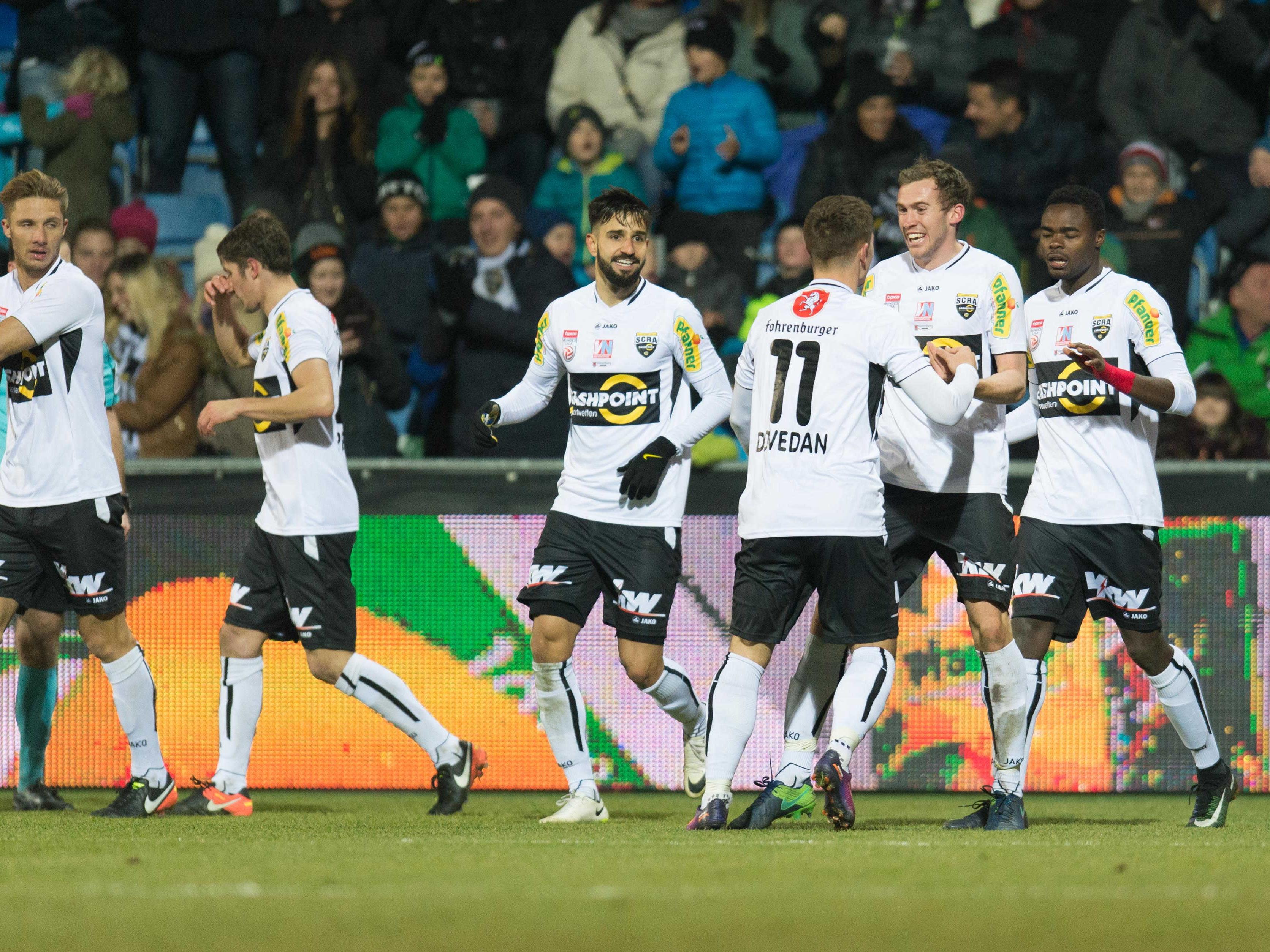 Jubel der Altach-Spieler nach dem 2:0 während der tipico Bundesliga-Begegnung zwischen Cashpoint SCR Altach und SK Rapid Wien