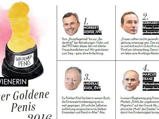 """Die Gewinner des """"Goldenen Penis 2016""""."""
