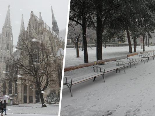 In einigen Teilen Wiens hat es unerwartet geschneit.