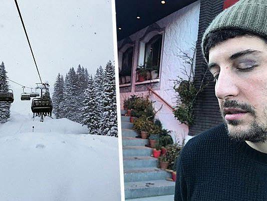 Endlich Schnee, dafür ein blaues Auge für Jason Biggs in Lech am Arlberg.