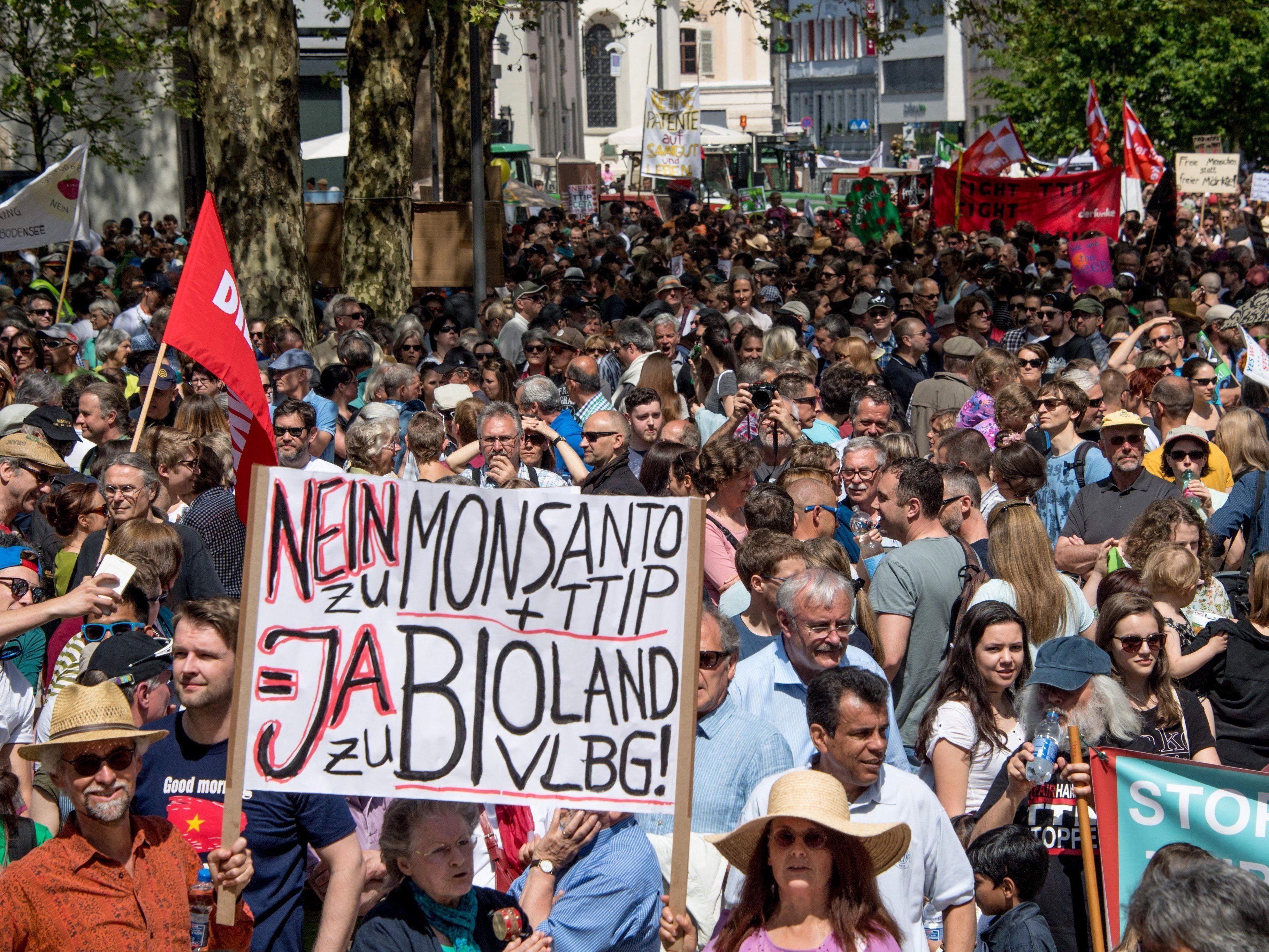 Im Mai 2016 marschierten in Bregenz über 4000 Menschen gegen TTIP, Ceta und Tisa.